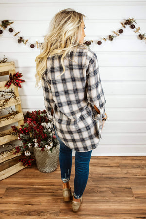 Glitzy Girlz Boutique Patience Is Key Plaid Top, Taupe