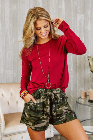 Glitzy Girlz Boutique Perfectly Basic Top, Cabernet
