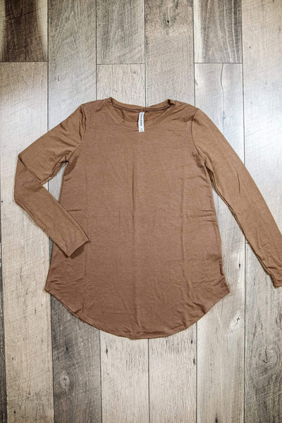 Glitzy Girlz Boutique Perfectly Basic Top, Mocha