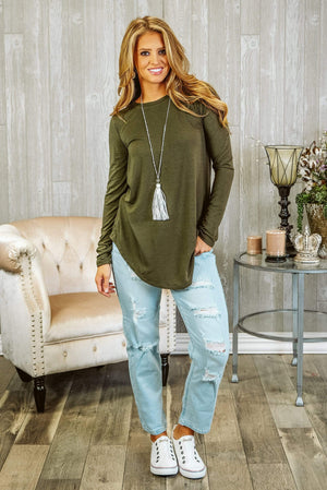 Glitzy Girlz Boutique Perfectly Basic Top, Olive