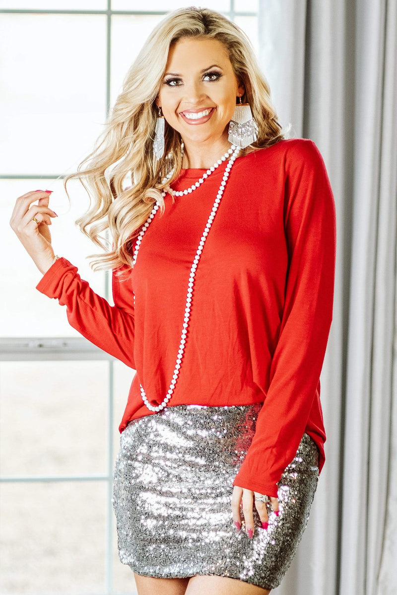 Glitzy Girlz Boutique Perfectly Basic Top, Ruby