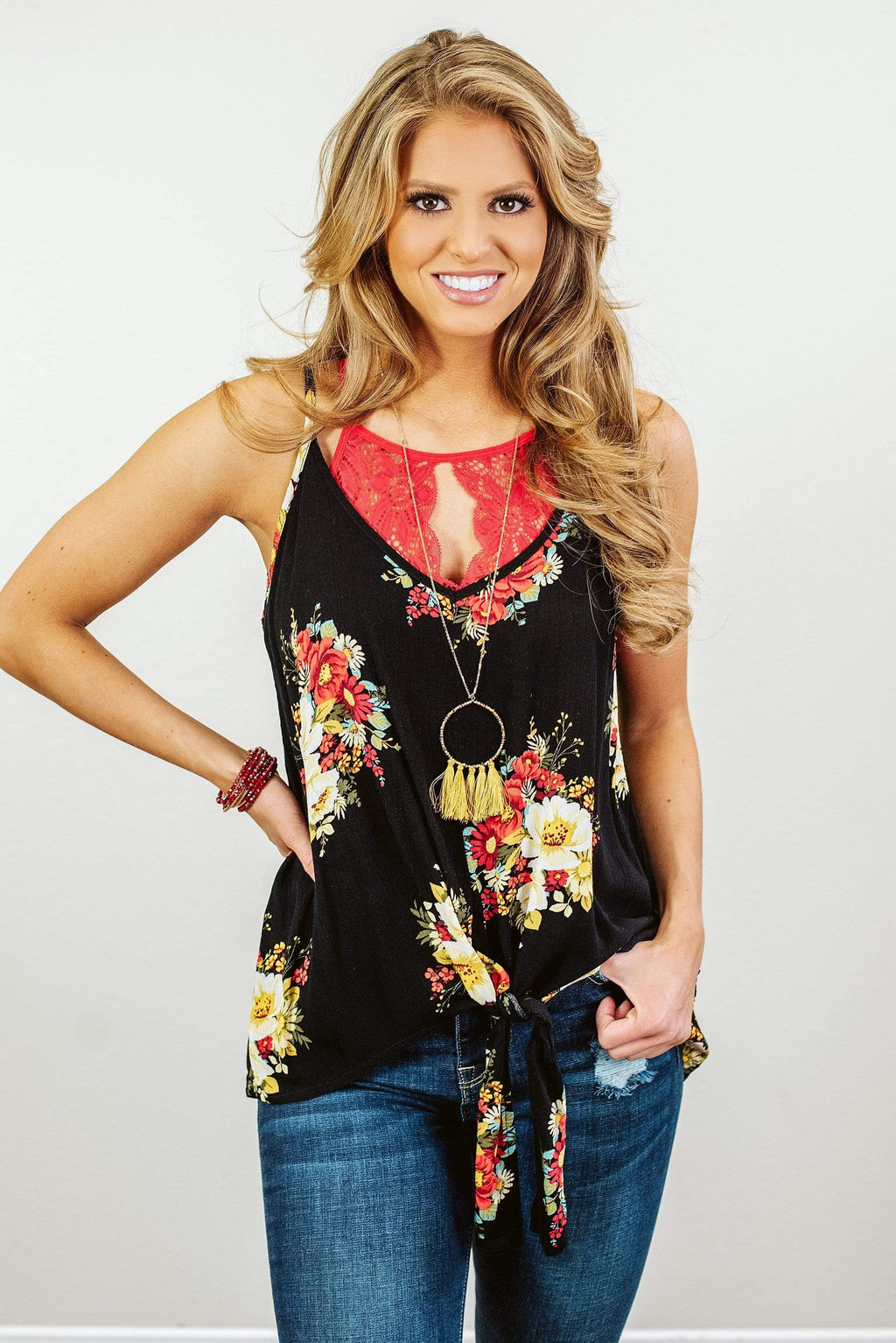 Glitzy Girlz Boutique Petals In The Wind Top, Black