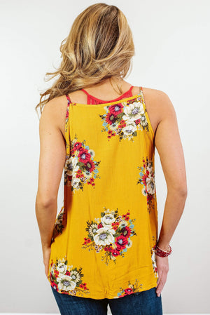 Glitzy Girlz Boutique Petals In The Wind Top, Mustard
