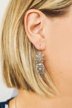 Glitzy Girlz Boutique Pineapple Earrings, Silver