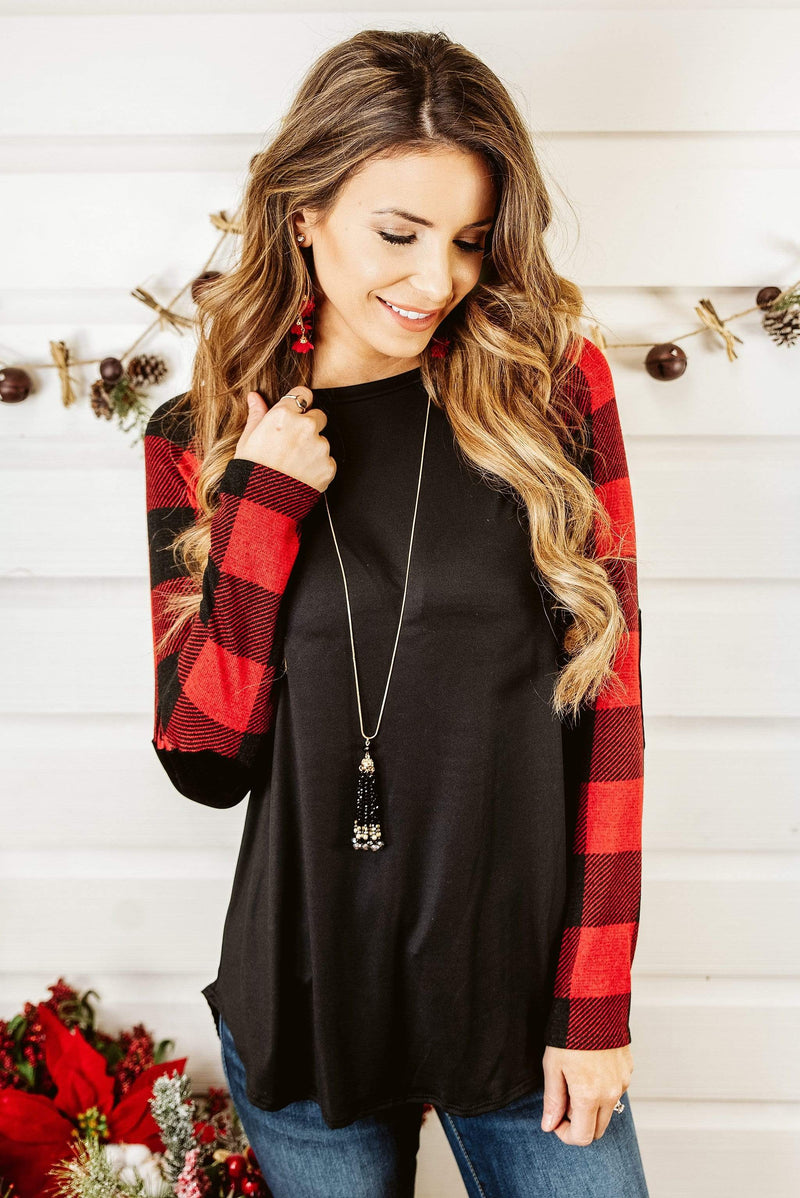Glitzy Girlz Boutique Plaid Your Day Top, Red