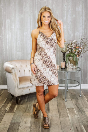 Glitzy Girlz Boutique Playing For Keeps Dress, Cinnamon