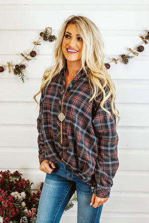 Glitzy Girlz Boutique Pretty In Plaid Top, Olive