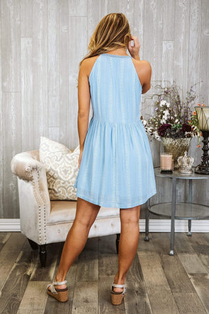 Glitzy Girlz Boutique Pull My Strings Dress, Light Blue