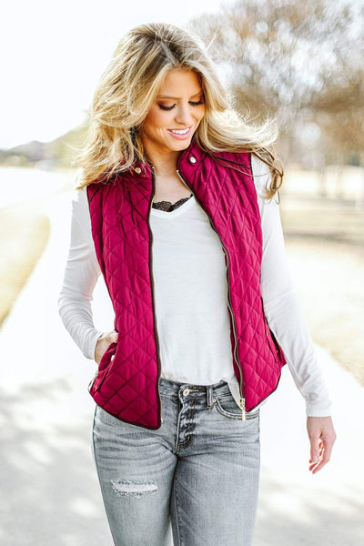 Glitzy Girlz Boutique Quilted Riding Vest, Burgundy