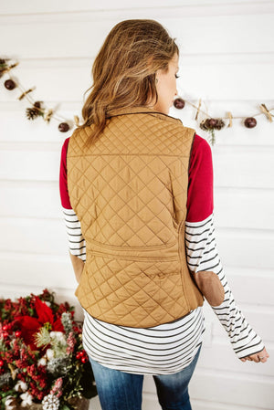Glitzy Girlz Boutique Quilted Riding Vest, Camel