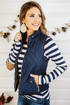 Glitzy Girlz Boutique Quilted Riding Vest, Navy