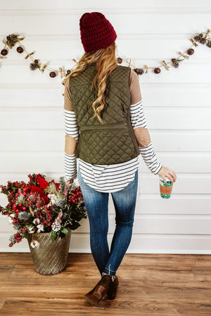 Glitzy Girlz Boutique Quilted Riding Vest, Olive