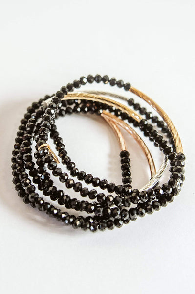 Glitzy Girlz Boutique Raising The Bar Bracelet Stack, Black