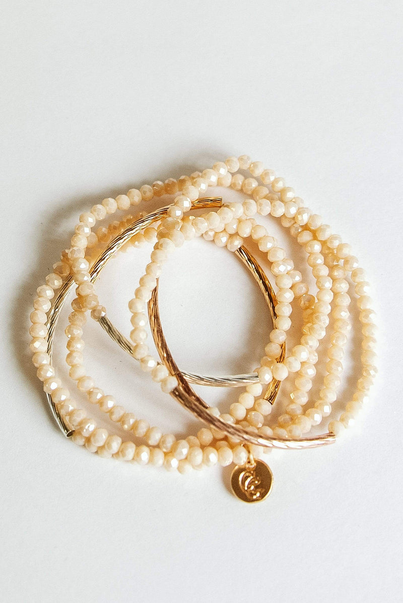 Glitzy Girlz Boutique Raising The Bar Bracelet Stack, Peach