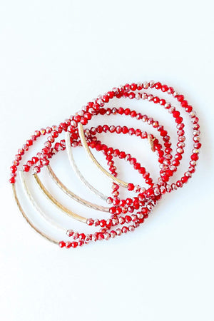 Glitzy Girlz Boutique Raising The Bar Bracelet Stack, Red