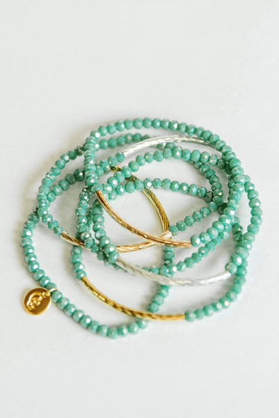 Glitzy Girlz Boutique Raising The Bar Bracelet Stack, Turquoise
