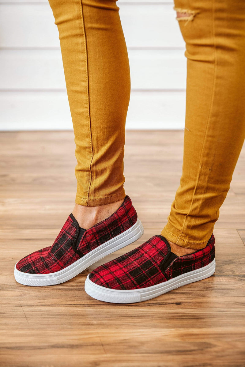 Glitzy Girlz Boutique Reba Sneakers, Plaid