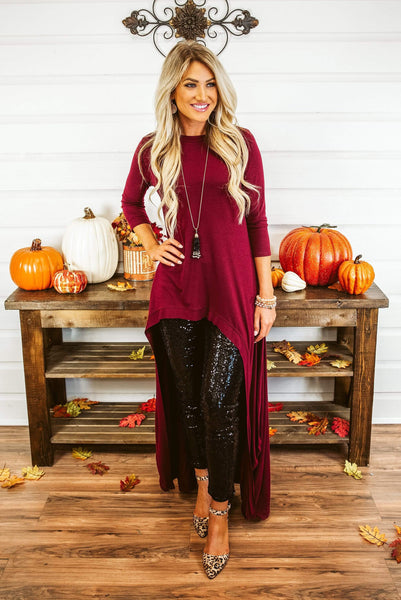 Glitzy Girlz Boutique Remember When Top, Dk Burgundy