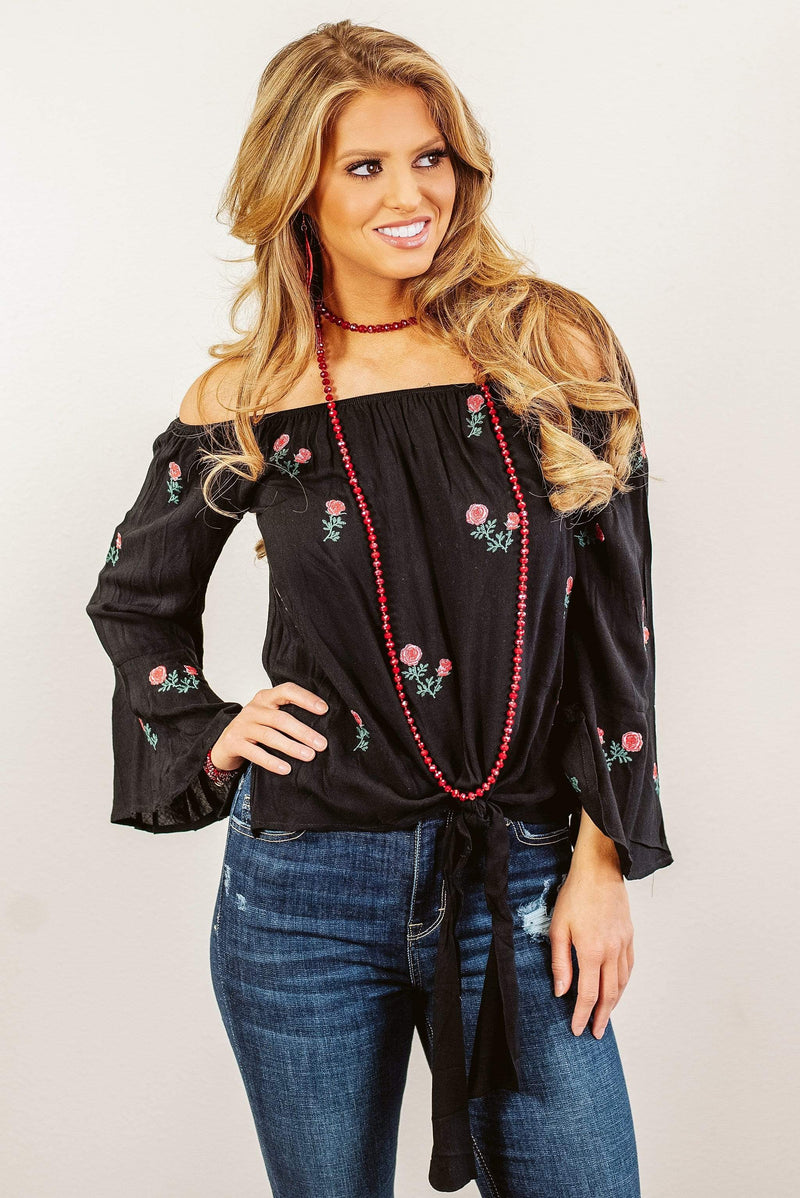 Glitzy Girlz Boutique Run For The Roses Top, Black