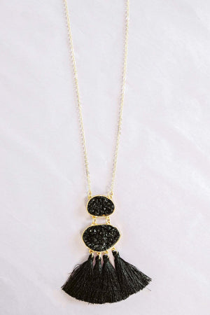 Glitzy Girlz Boutique Salsa Flare Necklace, Black