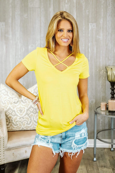 Glitzy Girlz Boutique Sassy Basic Top, Yellow