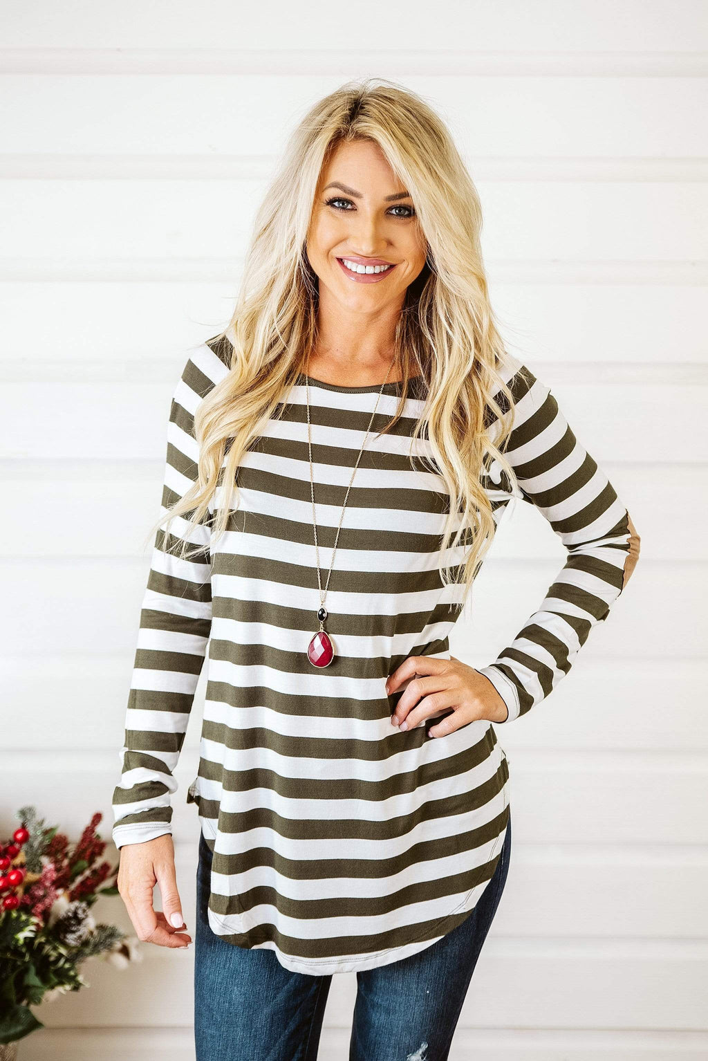 Glitzy Girlz Boutique Sassy Stripes Top, Olive