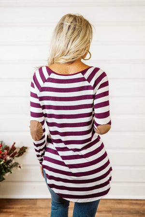 Glitzy Girlz Boutique Sassy Stripes Top, Plum