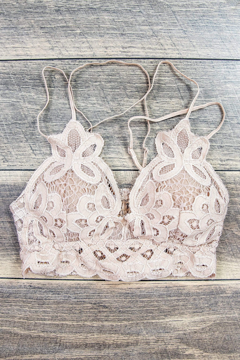 Glitzy Girlz Boutique Scalloped Lace Cami Bralette, Light Taupe