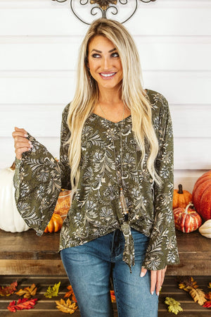 Glitzy Girlz Boutique Set The Pace Top, Olive