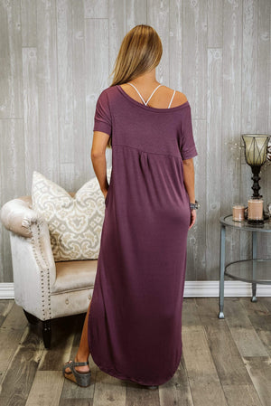 Glitzy Girlz Boutique Set You Free Maxi Dress, Eggplant