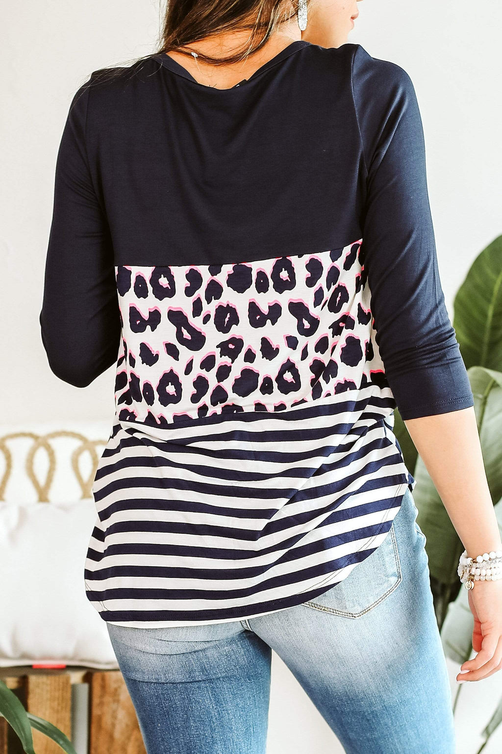 Glitzy Girlz Boutique Shake Up Your Love Top In Navy And Pink