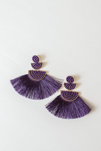Glitzy Girlz Boutique Shall We Dance Earrings, Purple