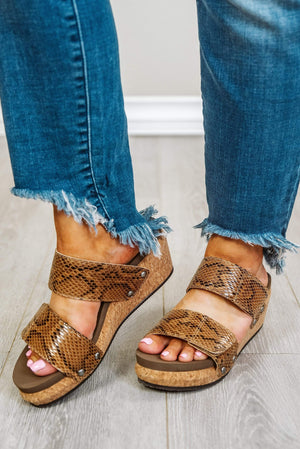 Glitzy Girlz Boutique Shaw Wedge Sandal, Brown Snake