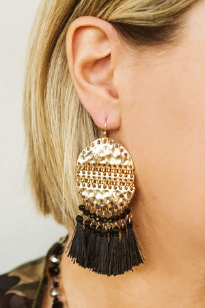 Glitzy Girlz Boutique Sing To Me Earrings, Black