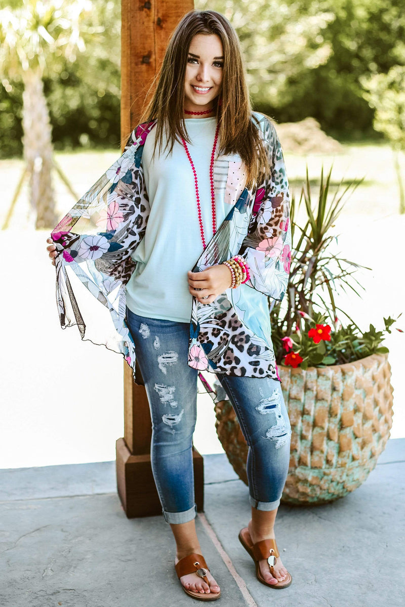 Glitzy Girlz Boutique Small Maui Memories Kimono, Mint