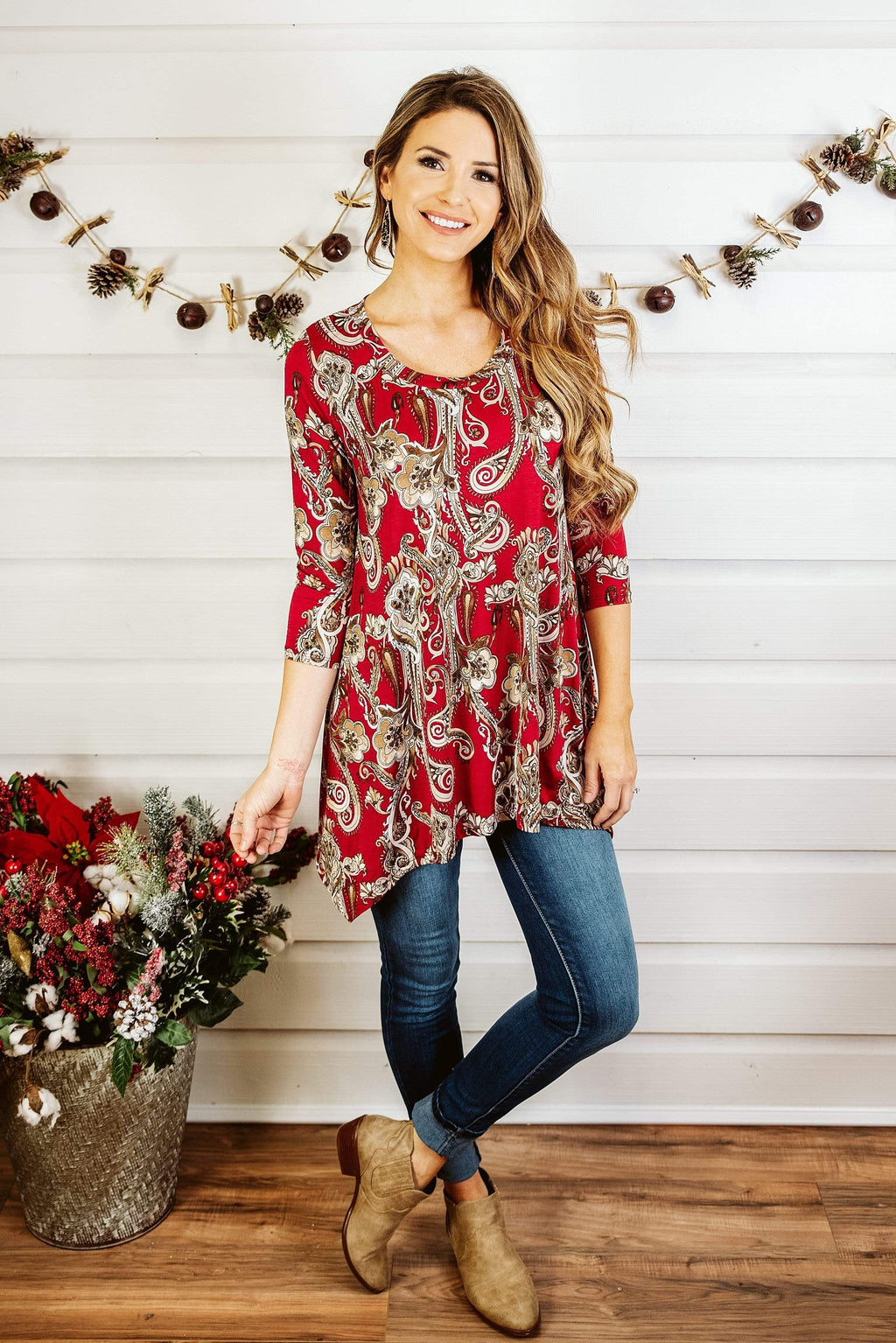 Glitzy Girlz Boutique Some Feelings Top, Burgundy/Black