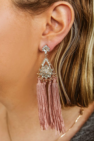 Glitzy Girlz Boutique Somebody Soon Earrings, Mauve