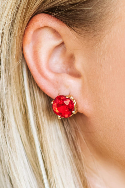 Glitzy Girlz Boutique Southern Charm Post Earrings, Red