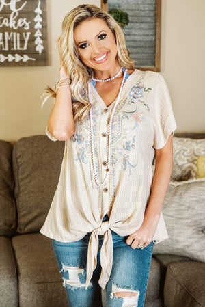 Glitzy Girlz Boutique Spring Gardens Top, Taupe