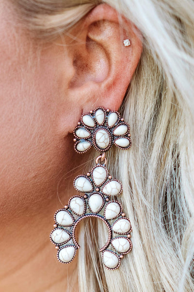 Glitzy Girlz Boutique Squash Blossom Earrings, White Turquoise/Bronze