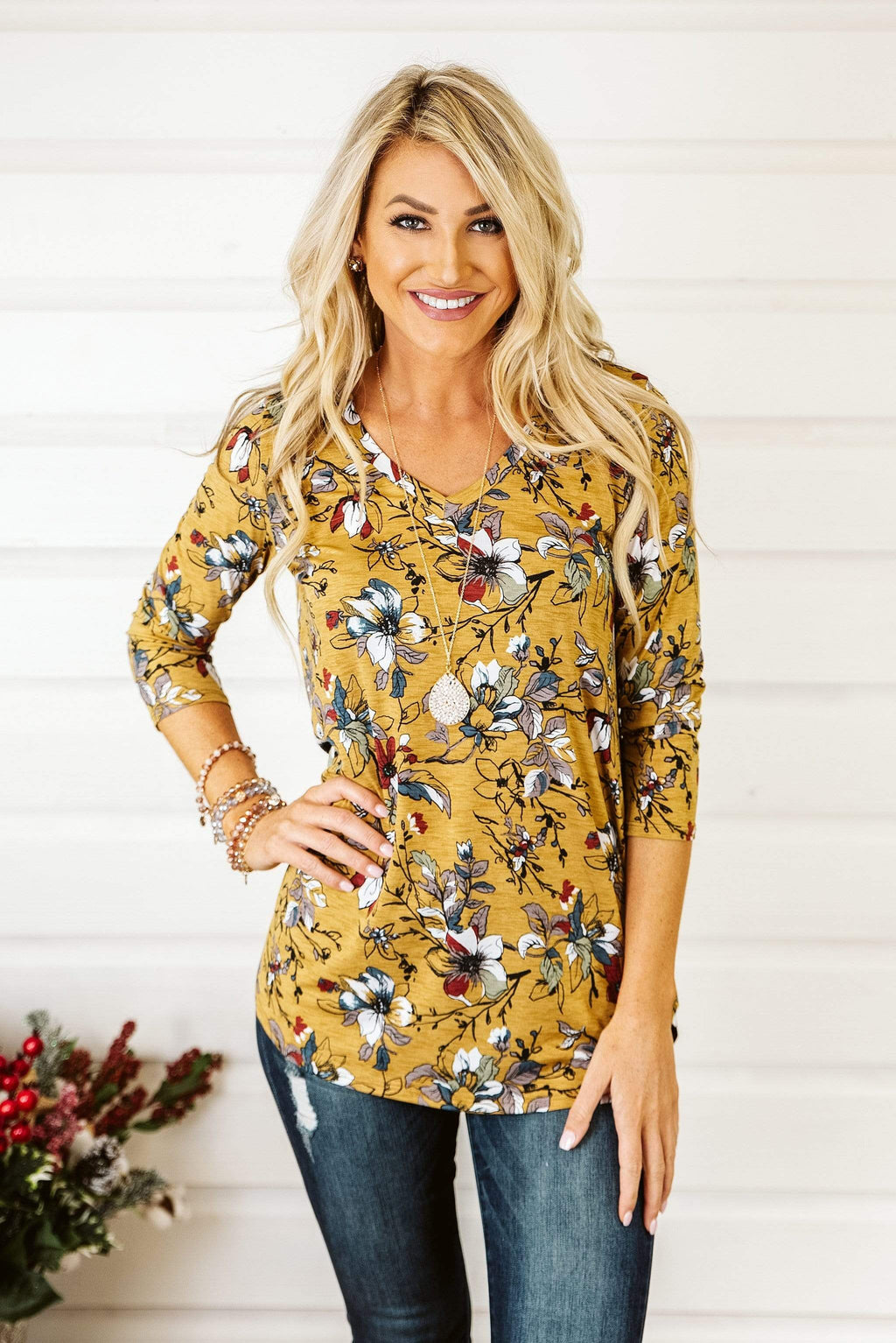 Glitzy Girlz Boutique Stand Together Top, Mustard/Rust