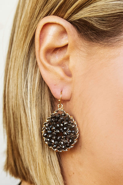 Glitzy Girlz Boutique Star Of The Show Earrings, Dark Charcoal