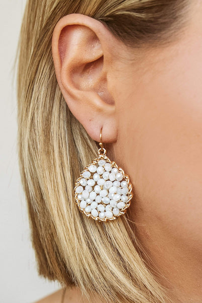 Glitzy Girlz Boutique Star Of The Show Earrings, Ivory