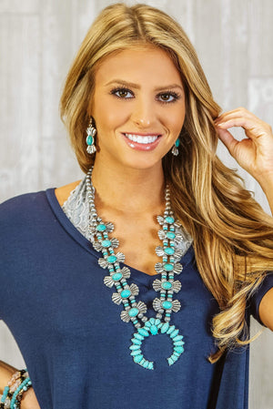 Glitzy Girlz Boutique Statement Squash Blossom Necklace Set