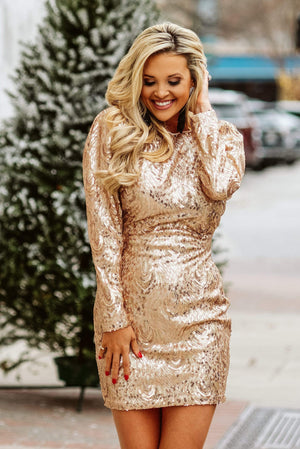 Glitzy Girlz Boutique Stole My Heart Dress, Gold
