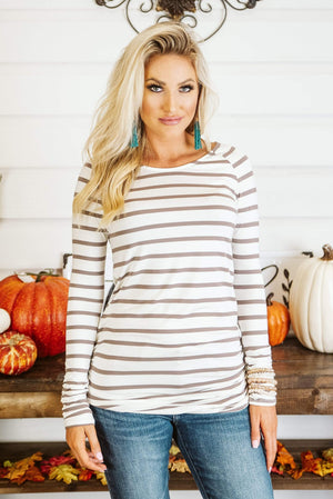 Glitzy Girlz Boutique Stripe It Simple Top, Cocoa