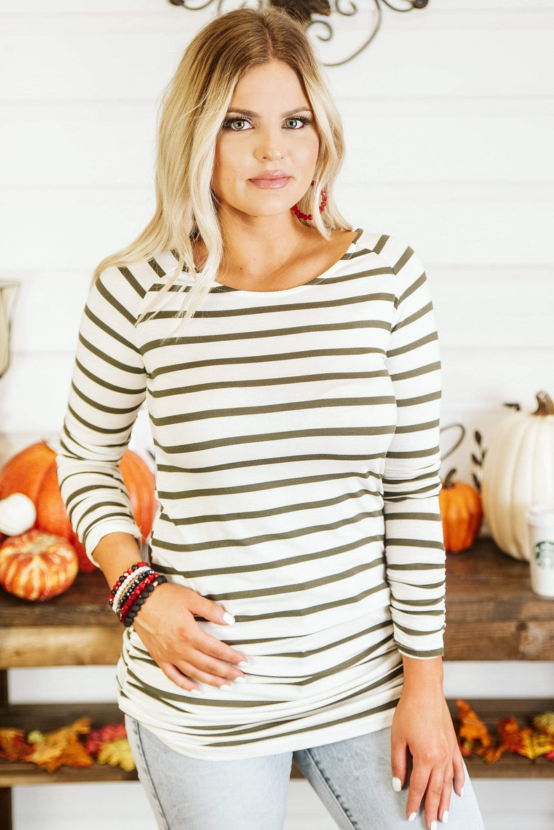 Glitzy Girlz Boutique Stripe It Simple Top, Olive
