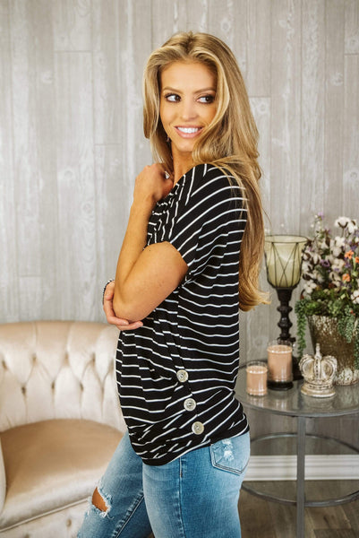 Glitzy Girlz Boutique Stripes Ahead Top, Black