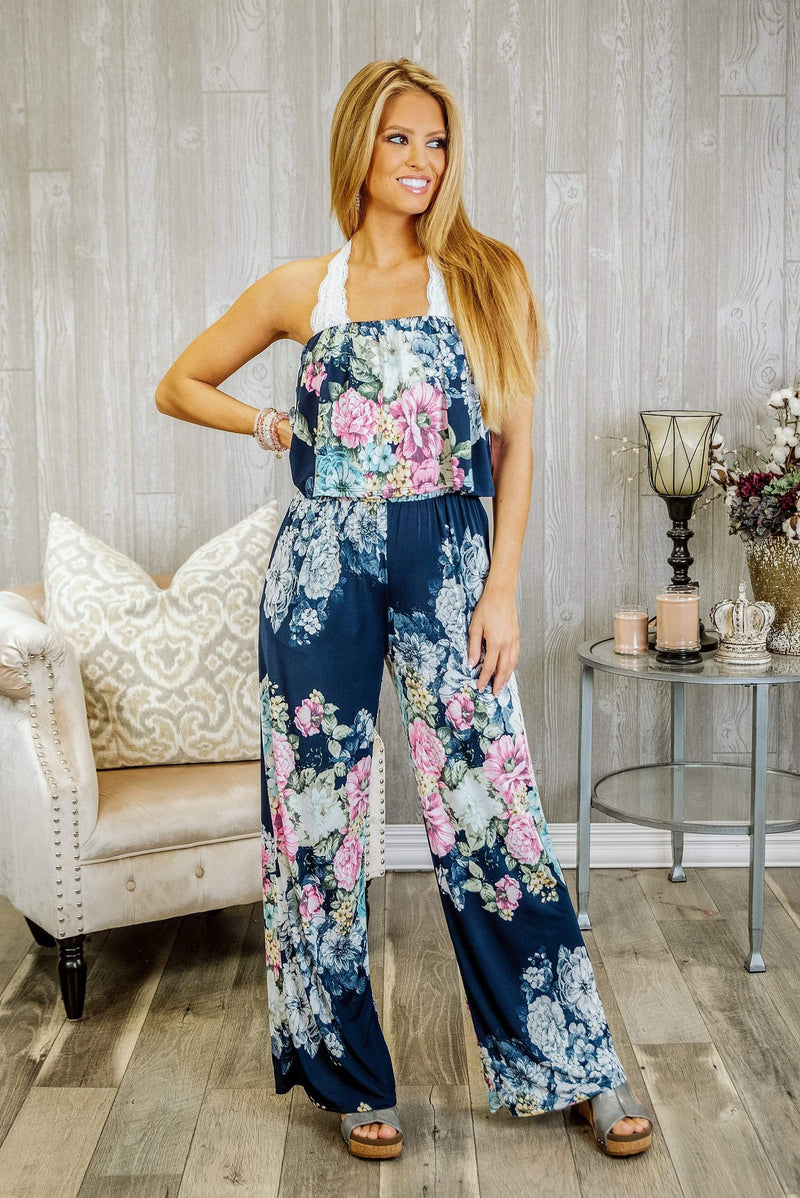 Glitzy Girlz Boutique Stunning Abroad Jumpsuit, Navy