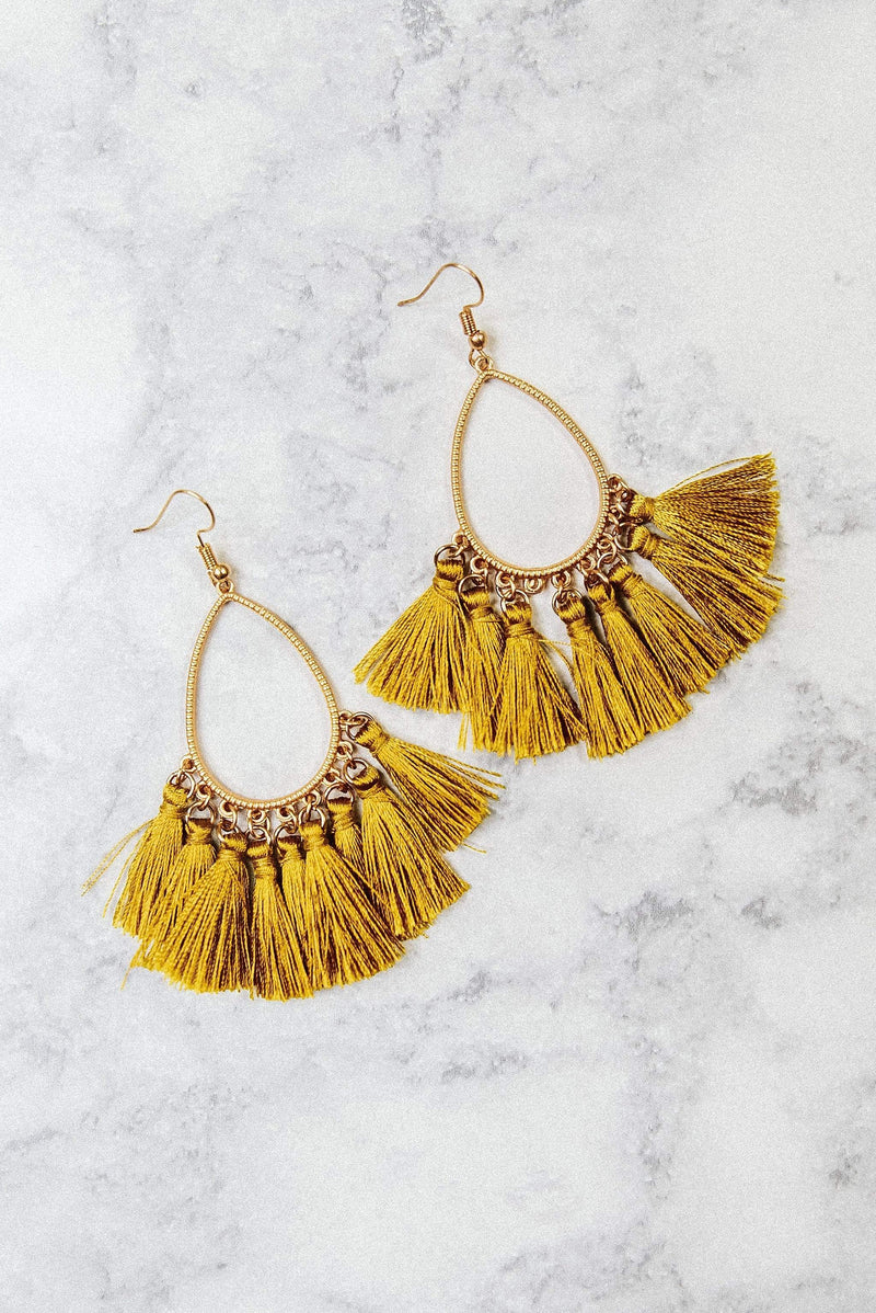 Glitzy Girlz Boutique Take A Chance On Me Earrings, Mustard